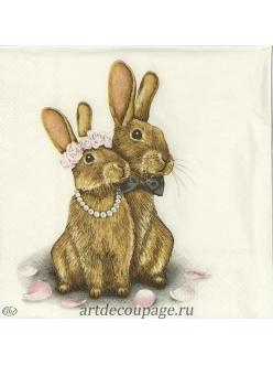 Салфетка для декупажа Кролики, 33х33 см, Германия
