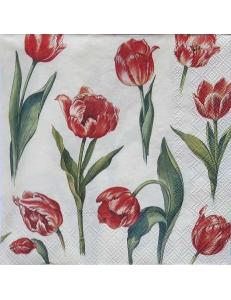 "Салфетка для декупажа IHR-201251 ""Красные тюльпаны"", 33х33 см, Германия"