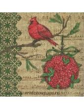 "Салфетка для декупажа IHR-201255 ""Красная птица"", 33х33 см, Германия"