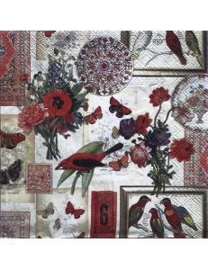"""Салфетка для декупажа IHR-201301 """"Коллаж с цветами и птицами"""", 33х33 см, Германия"""