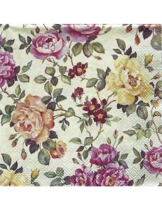 "Салфетка для декупажа IHR-201344 ""Плетистые розы"", 33х33 см, Германия"
