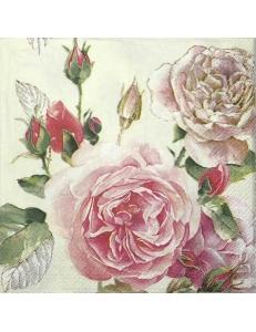 "Салфетка для декупажа IHR-201346 ""Английская роза"", 33х33 см, Германия"