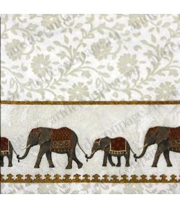 "Салфетка для декупажа IHR-201367 ""Слоны"", 33х33 см, Германия"