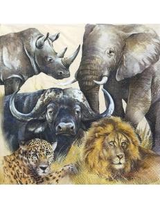 """Салфетка для декупажа IHR-201368 """"Африканские животные"""", 33х33 см, Германия"""