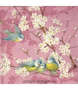 "Салфетка для декупажа IHR-201417 ""Птицы нацветущем дереве, розовый"", 33х33 см, Германия"