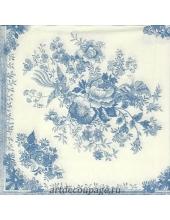 "Салфетка для декупажа IHR-201427 ""Цветы и птицы, голубой"", 33х33 см, Германия"