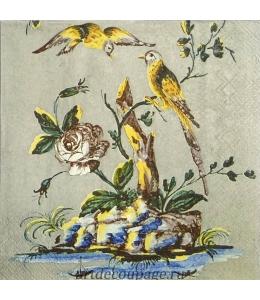 "Салфетка для декупажа IHR-201448 ""Желтые птицы"", 33х33 см, Германия"