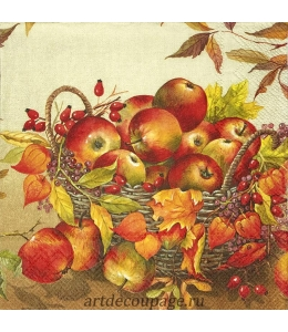 "Салфетка для декупажа IHR-201472 ""Корзина с яблоками"", 33х33 см, Германия"