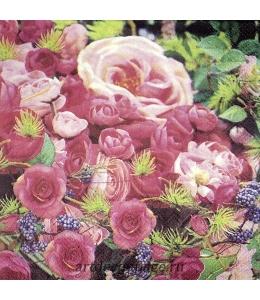 """Салфетка для декупажа IHR-201496 """"Розы в саду"""", 33х33 см, Германия"""