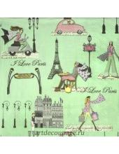 "Салфетка для декупажа IHR-201516 ""Прогулка по Парижу"", 33х33 см, Германия"