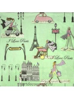 Салфетка для декупажа Прогулка по Парижу, 33х33 см, Германия