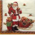"Салфетка для декупажа IHR-092601 ""Санта с игрушками"", 33х33 см, Германия"
