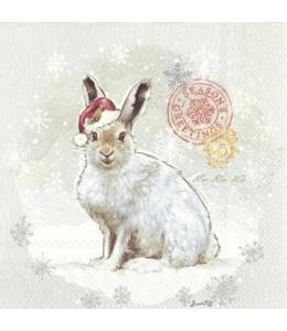"Салфетка для декупажа IHR-093702 ""Кролик в колпаке Санты"", 33х33 см, Германия"