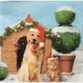 """Салфетка для декупажа IHR-000 """"Рождественские собака и кот"""", 33х33 см, Германия"""