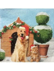"""Салфетка для декупажа IHR-102305 """"Рождественские собака и кот"""", 33х33 см, Германия"""