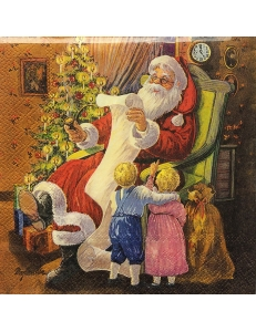 """Салфетка для декупажа IHR-102319 """"Дети и подарки от Санты"""",  33х33 см, Германия"""