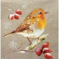 """Салфетка для декупажа IHR-102323 """"Птичка и зимние ягоды"""",  33х33 см, Германия"""