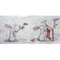 """Салфетка для декупажа IHR-102381 """"Рождественский кролик и птички"""",  33х33 см, Германия"""