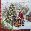 "Салфетка для декупажа IHR-102383 ""Санта с подарками у елки"",  33х33 см, Германия"