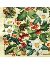 """Салфетка для декупажа IHR-102384 """"Рождественские цветы, ягоды и шишки"""",  33х33 см, Германия"""