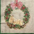 """Салфетка для декупажа IHR-102391 """"Рождественский венок и медвежонок"""",  33х33 см, Германия"""