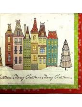 """Салфетка для декупажа IHR-102504 """"Рождественская улица"""", 33х33 см, Германия"""