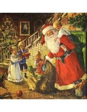 """Салфетка для декупажа IHR-102512 """"Санта с подарками и дети"""", 33х33 см, Германия"""