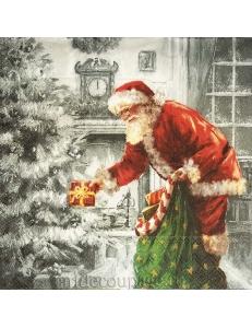 "Салфетка для декупажа IHR-102516 ""Санта у камина"", 33х33 см, Германия"
