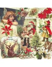 """Салфетка для декупажа IHR-102522 """"Рождественский коллаж"""", 33х33 см, Германия"""