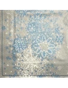 """Салфетка для декупажа IHR-102536 """"Сверкающие снежинки"""", 33х33 см, Германия"""