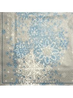 Салфетка новогодняя для декупажа Сверкающие снежинки,  33х33 см, Германия