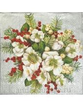 """Салфетка для декупажа IHR-102554 """"Рождественский букет"""", 33х33 см, Германия"""