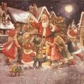 "Салфетка для декупажа IHR-102571 ""Санта и дети на площади"", 33х33 см, Германия"
