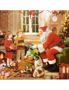 "Салфетка для декупажа IHR-102572 ""Санта дарит подарки"", 33х33 см, Германия"