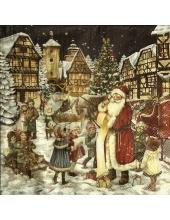 "Салфетка для декупажа IHR-102581 ""Санта раздает подарки"", 33х33 см, Германия"