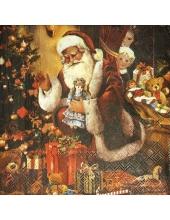 "Салфетка для декупажа IHR-102586 ""Санта с игрушками"", 33х33 см, Германия"
