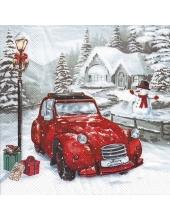 """Салфетка для декупажа IHR-102594 """"Красный автомобиль"""", 33х33 см, Германия"""