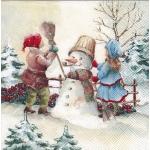 "Салфетка для декупажа IHR-102603 ""Дети и снеговик"", 33х33 см, Германия"