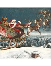 "Салфетка для декупажа IHR-102608 ""Санта на оленях"", 33х33 см, Германия"