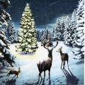 """Салфетка для декупажа IHR-102611 """"Олени и новогодняя елка"""", 33х33 см, Германия"""