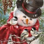 "Салфетка для декупажа IHR-102631 ""Снеговик и птички"", 33х33 см, Германия"