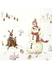 "Салфетка для декупажа IHR-102632 ""Снеговики и игрушки"", 33х33 см, Германия"