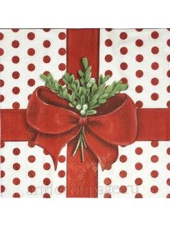 Салфетка новогодняя для декупажа Зимняя веточка с бантиком,  33х33 см, Германия