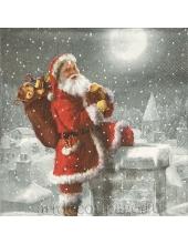 "Салфетка для декупажа IHR-102645 ""Санта на крыше дома"", 33х33 см, Германия"