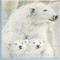 """Салфетка для декупажа IHR-102658 """"Белые медведи"""", 33х33 см, Германия"""