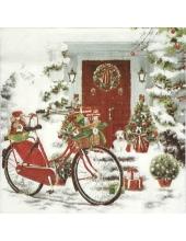 """Салфетка для декупажа IHR-102660 """" Велосипед с подарками"""", 33х33 см, Германия"""