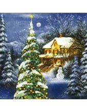 "Салфетка для декупажа IHR-102663 ""Зимний коттедж и новогодняя елка"", 33х33 см, Германия"