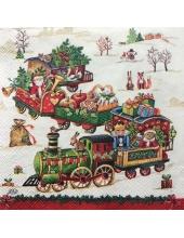 """Салфетка для декупажа IHR-102529 """"Рождественский поезд с игрушками"""",  33х33 см, Германия"""