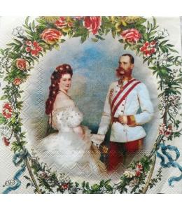 "Салфетка для декупажа IHR-000 ""Франц Йозеф и Элизабет"", 33х33 см, Германия"