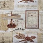 "Салфетка для декупажа IHR-310815 ""Изобретения Леонардо"", 33х33 см, Германия"